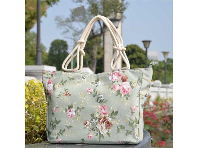 Lady's womens canvas Cotton Beach Bag shopping Tote Bag School Bag Rope Handle