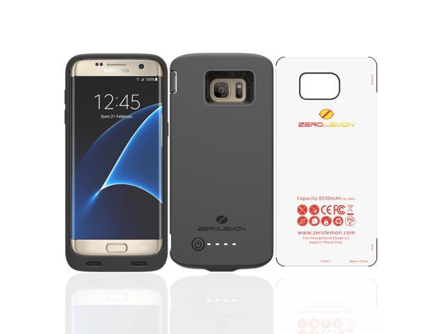 Samsung Galaxy S7 Edge Battery Case, ZeroLemon Samsung Galaxy S7 Edge 8500mAh Extended Battery Case with Soft TPU Full Edge Protection-Black