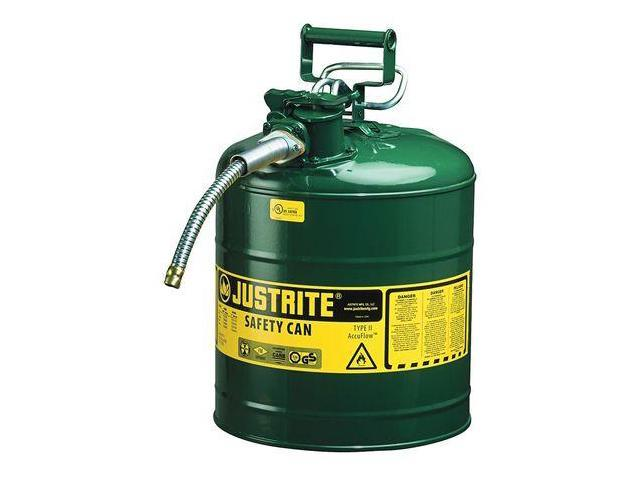 JUSTRITE 7250420 Type II Safety Can, Green, 17-1/2 In. H