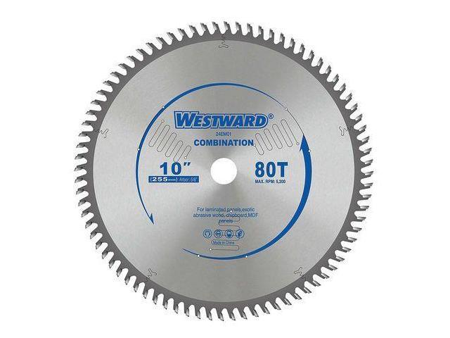 WESTWARD 24EM01 Circular Saw Blades, 10 In, 80T