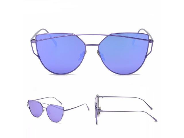 New Fashion Cat Eye BL Sunglasses Women Famous Brand Designer Twin-Beams Ladies Sunglasses Metal Mirror Glasses Sexy Shades
