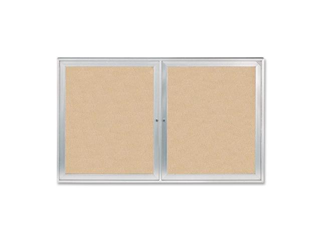 GHENT PA23660K Enclosed Bulletin Board, Cork, 60x36 In.