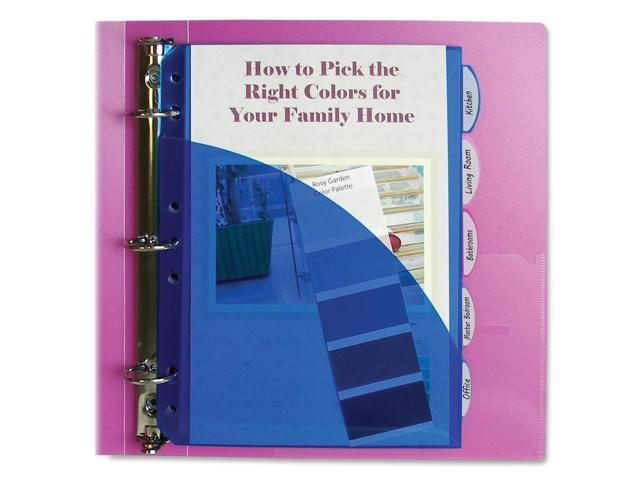 C-line Mini Size 5-Tab Poly Index Dividers, Assorted Colors with Slant Pockets