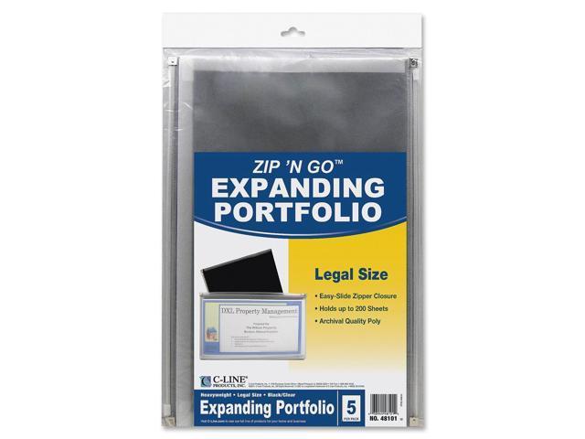 C-line Zip 'N Go Reusable Envelope, Black, Legal Size, 15 X 12, 5/PK, 48101