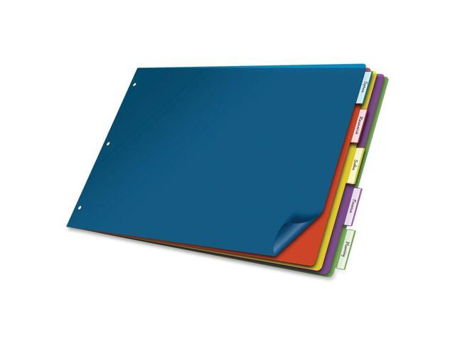 Cardinal 11inch x 17inch Poly Insertable Dividers, 5-Tab, Multi-Color