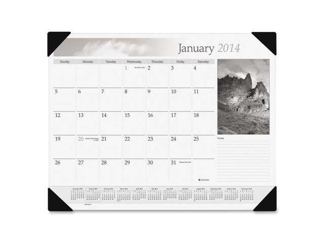 At-A-Glance Black & White Monthly Desk Pad Calendar