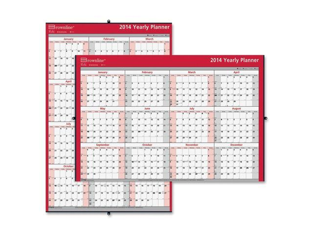 Brownline Laminated Yearly Wall Calendar