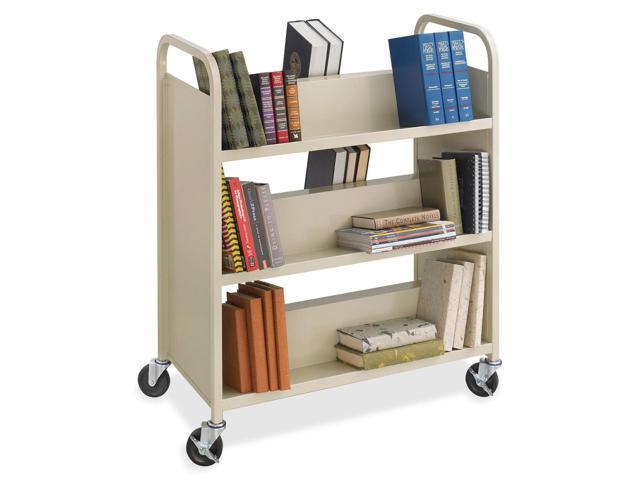 Safco Steel Shelf Double-Sided Book Carts, 6-Shelf Cart