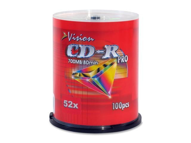 Vision CD Recordable Media - CD-R - 52x - 700 MB - 100 Pack Spindle