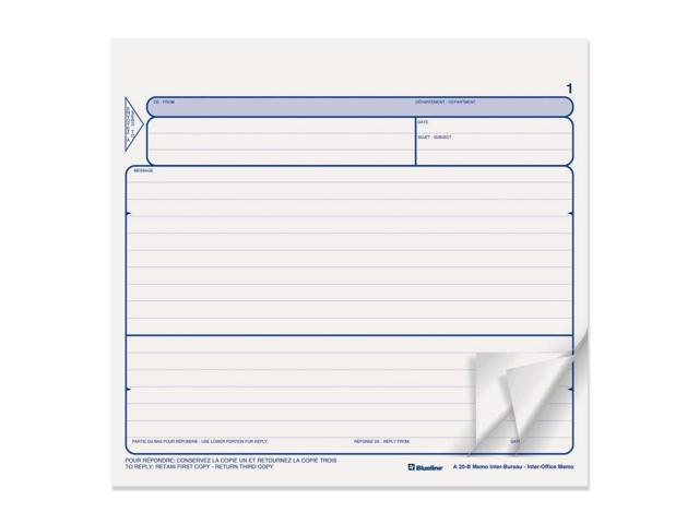 Blueline Triplicate Bilingual Inter-Office Memo Form