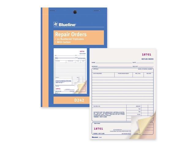 Blueline Bilingual Repair Order Form