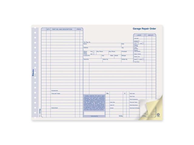 Blueline Repair Order Form