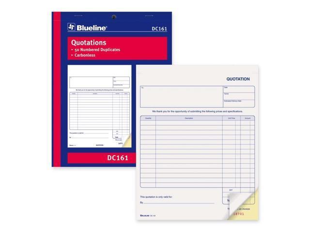 Blueline Quotation Order Form