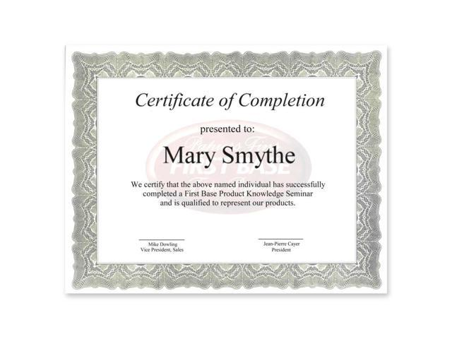 First Base Gloche Certificate