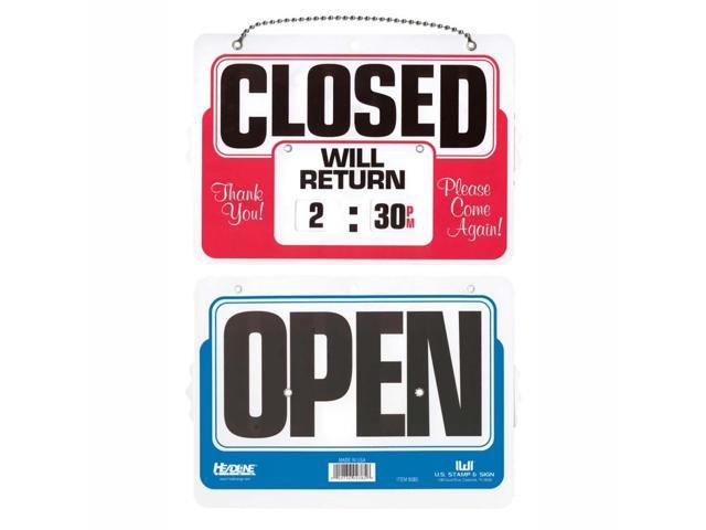 Headline Sign 9385 Double-Sided Open/Closed Sign w/Dial-A-Time Will Return Clock, Plastic, 11 x 8