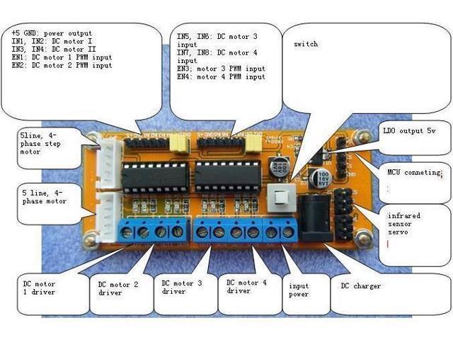 Dc motor driver module 4wd l293d duel h bridge for arduino for L293d motor driver module
