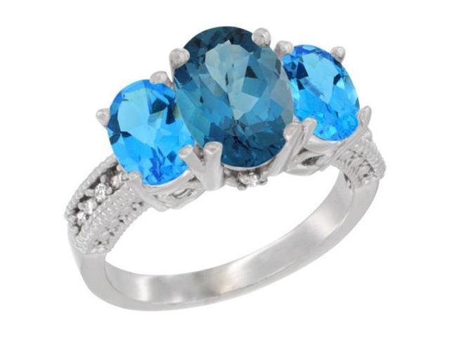 10K White Gold Natural London Blue Topaz Ring Ladies 3-Stone 8x6 Oval with Swiss Blue Topaz Ring Ladies 3-Stone 8x6 Oval Sides Diamond Accent, sizes 5 - 10