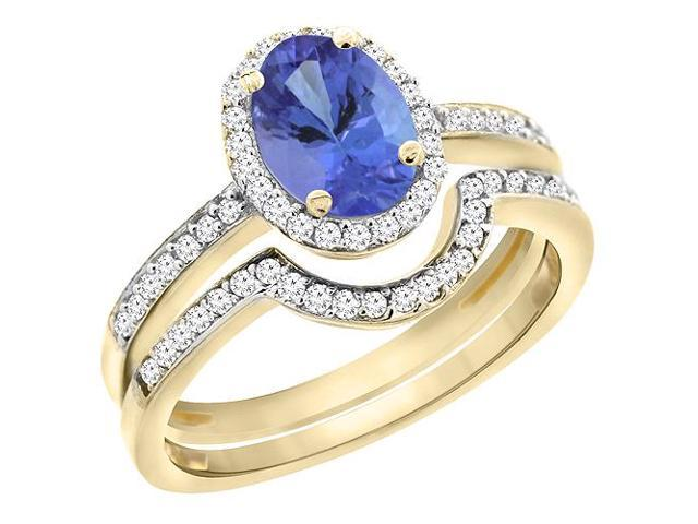 14K Yellow Gold Natural Tanzanite 2-Piece Ring Set Oval 7x5mm Diamond Accents, sizes 5 - 10