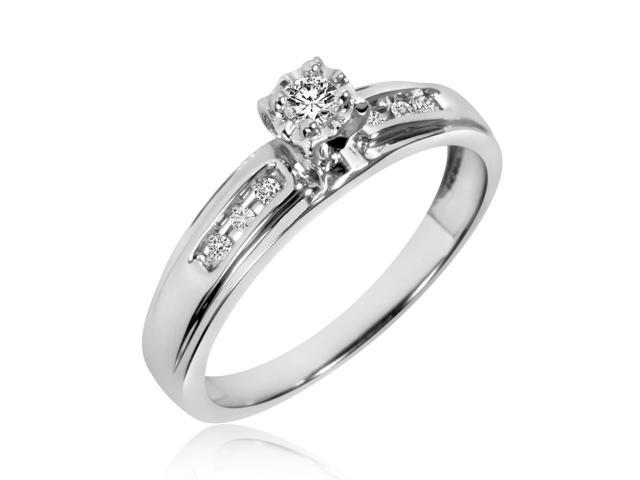 1/8 Carat T.W. Round Cut Diamond Ladies Engagement Ring 10K White Gold- Size
