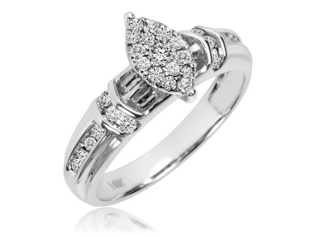 1/3 Carat T.W. Round Cut Diamond Ladies Engagement Ring 10K White Gold- Size 12