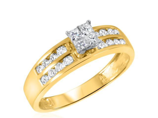 1/2 CT. T.W. Diamond Ladies Engagement Ring 10K Yellow Gold- Size 4.25