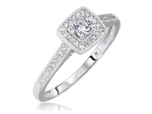 1/5 Carat T.W. Round Cut Diamond Ladies Engagement Ring 14K White Gold- Size