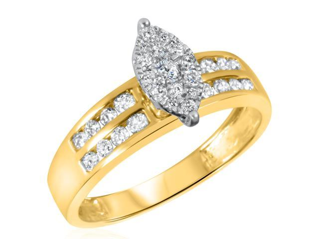 1/2 CT. T.W. Diamond Ladies Engagement Ring 10K Yellow Gold- Size 12