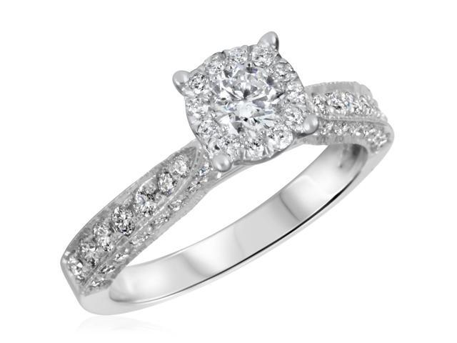 7/8 CT. T.W. Diamond Ladies Engagement Ring 14K White Gold- Size 12.5
