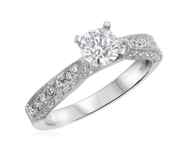 1 CT. T.W. Diamond Ladies Engagement Ring 10K White Gold- Size 12