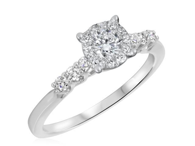 5/8 CT. T.W. Diamond Ladies Engagement Ring 10K White Gold- Size 10.25