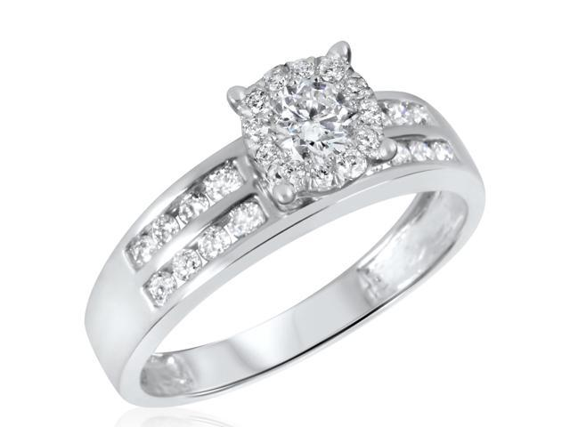 3/4 CT. T.W. Diamond Ladies Engagement Ring 10K White Gold- Size 12.75