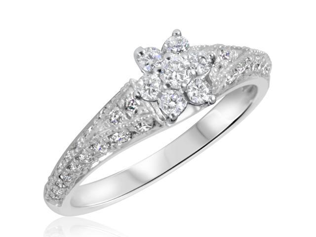 3/4 CT. T.W. Diamond Ladies Engagement Ring 14K White Gold- Size 9.5