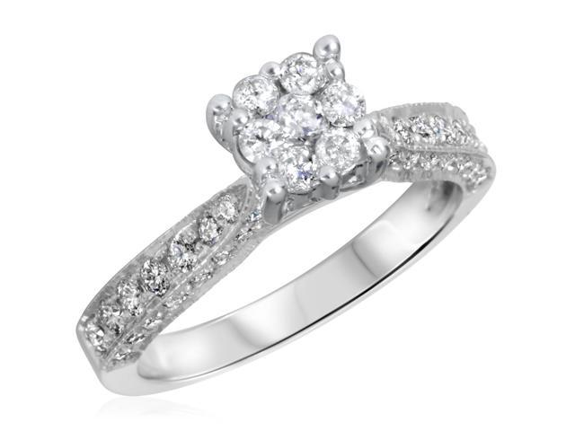 3/4 CT. T.W. Diamond Ladies Engagement Ring 14K White Gold- Size 9.75
