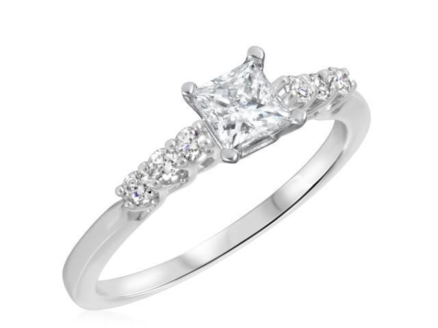 2/3 CT. T.W. Diamond Ladies Engagement Ring 14K White Gold- Size 10.75