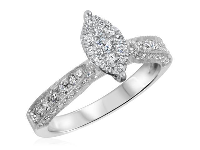 3/4 CT. T.W. Diamond Ladies Engagement Ring 10K White Gold- Size 4