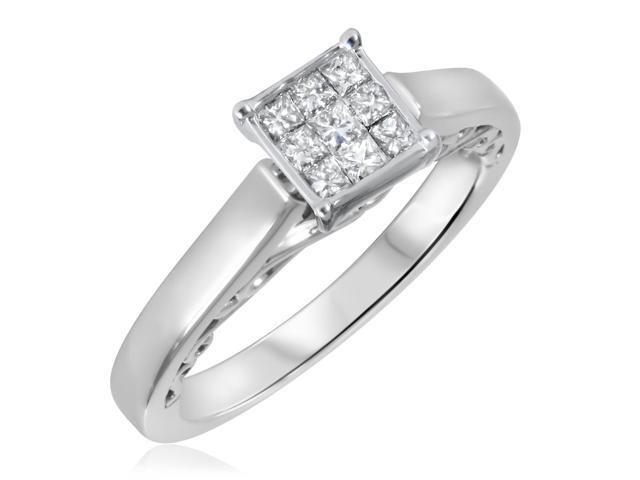 1/3 CT. T.W. Diamond Ladies Engagement Ring 14K White Gold- Size 9