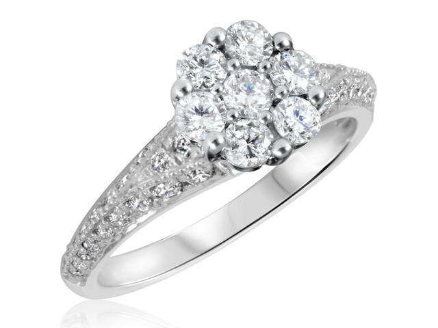 1 1/6 CT. T.W. Diamond Ladies Engagement Ring 10K White Gold- Size 11.5