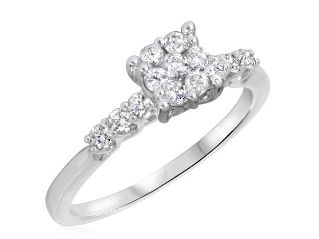 3/8 CT. T.W. Diamond Ladies Engagement Ring 14K White Gold- Size 6