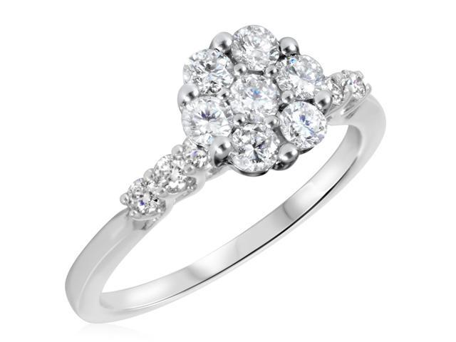 7/8 CT. T.W. Diamond Ladies Engagement Ring 14K White Gold- Size 6.25