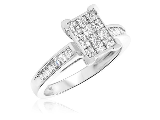 7/8 Carat T.W. Princess, Baguette Cut Diamond Ladies Engagement Ring 10K White