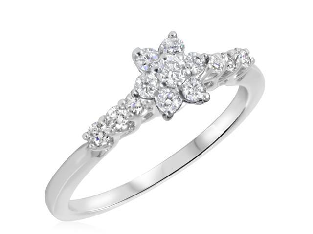 3/8 CT. T.W. Diamond Ladies Engagement Ring 14K White Gold- Size 8.25