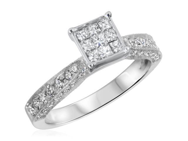 3/4 CT. T.W. Diamond Ladies Engagement Ring 10K White Gold- Size 3.75
