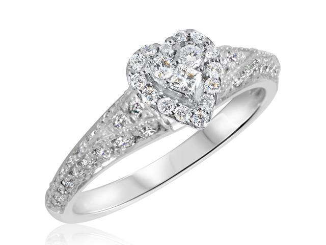 3/4 CT. T.W. Diamond Ladies Engagement Ring 10K White Gold- Size 5.5