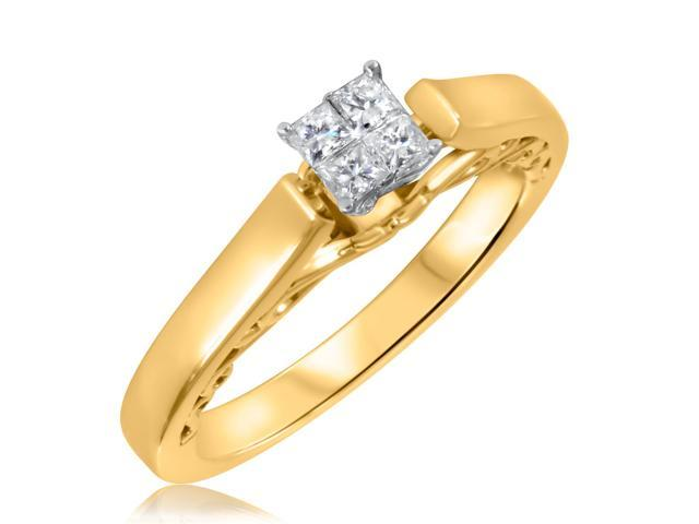 1/4 CT. T.W. Diamond Ladies Engagement Ring 14K Yellow Gold- Size 5.25