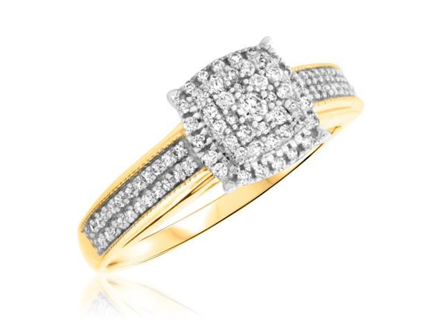 3/8 Carat T.W. Round Cut Diamond Ladies Engagement Ring 14K Yellow Gold- Size