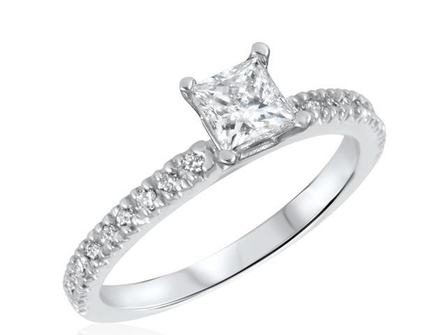 3/4 CT. T.W. Diamond Ladies Engagement Ring 14K White Gold- Size 9.25