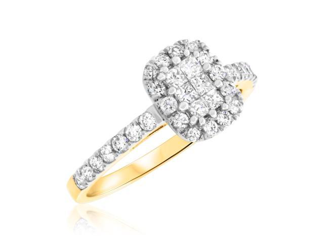 2/3 Carat T.W. Princess, Round Cut Diamond Ladies Engagement Ring 10K Yellow