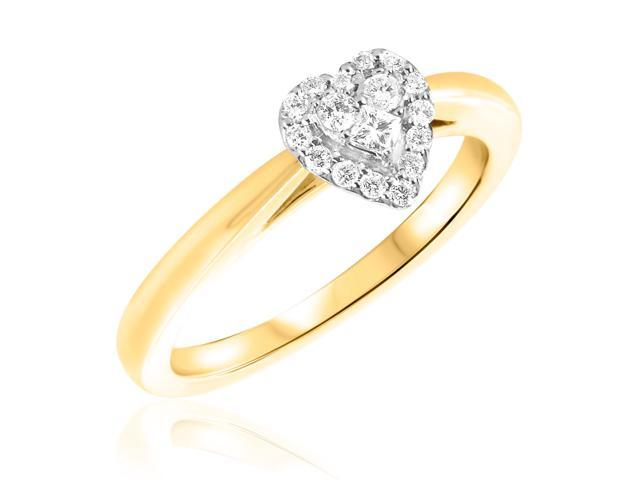 1/4 CT. T.W. Diamond Ladies Engagement Ring 14K Yellow Gold- Size 6.75