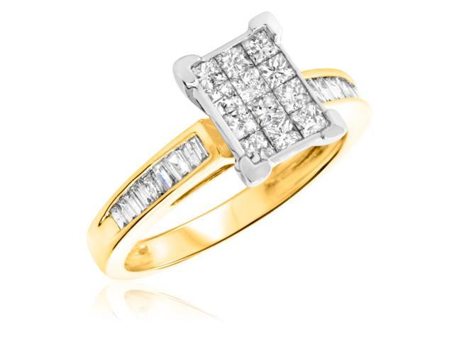 7/8 Carat T.W. Princess, Baguette Cut Diamond Ladies Engagement Ring 14K Yellow