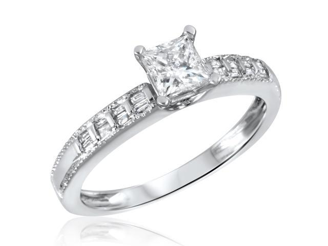 2/3 CT. T.W. Diamond Ladies Engagement Ring 14K White Gold- Size 5.75
